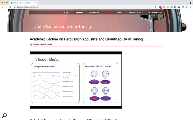 The website which accompanies the book is arich resource, with interviews of drummers and engineers, video lectures and tutorials, and more besides.