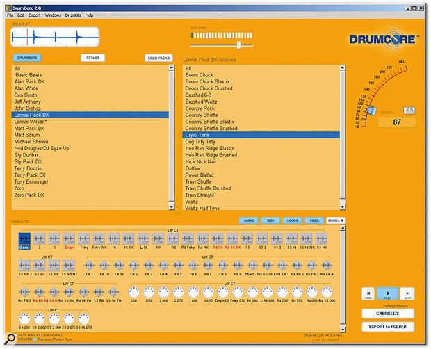 Drumcore's main window, with the two upper panes providing search criteria and the resulting audio and MIDI loops shown in the lower Results pane.