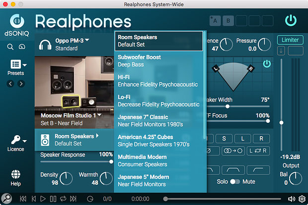 You can choose between 12 sets of modelled loudspeakers.