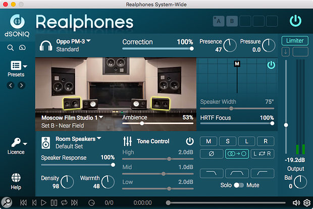 Realphones not only features a mono button but also the option to monitor on a single speaker.