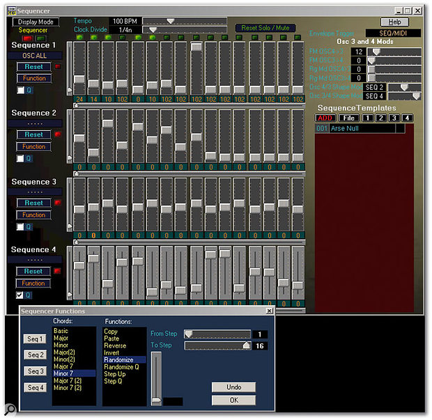 The Sequencer editing screen from the Poly Evolver's software editor/librarian. The values are depicted here as positions on graphical sliders (there's also a bar-graph display option). Below is the sequencer Functions window.