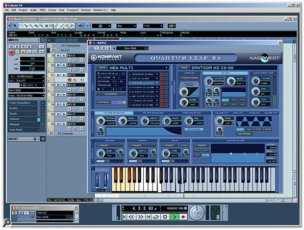 Ra running as a VST plug-in within Cubase SX — Kompakt performed flawlessly throughout the test period.