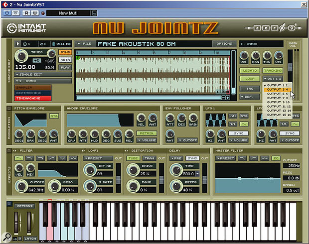 Nu Jointz being used as a VST plug-in within Cubase SX. In both Intakt and Kompakt, each sample can be assigned to one of the eight stereo outputs.