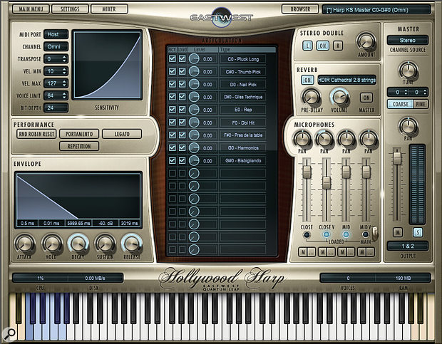 The Play interface for Hollywood Solo Instruments matches the Hollywood Orchestra GUI, with a central panel showing the currently loaded articulations and a four-channel microphone mixer to its right. Mapped sample keys are marked in white, with keyswitches shown in blue.