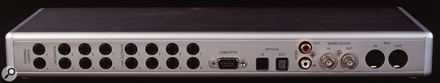 The Layla 3G provides eight channels of analogue input and output, plus eight-channel ADAT I/O.