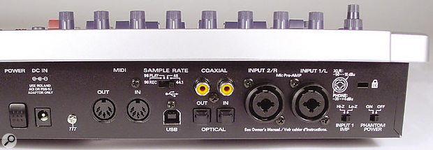The UR80 features combination XLR/jack sockets for its audio inputs, but the main stereo outputs are on phonos.