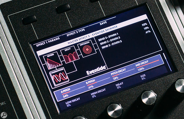 Moog One: Effects parameters.