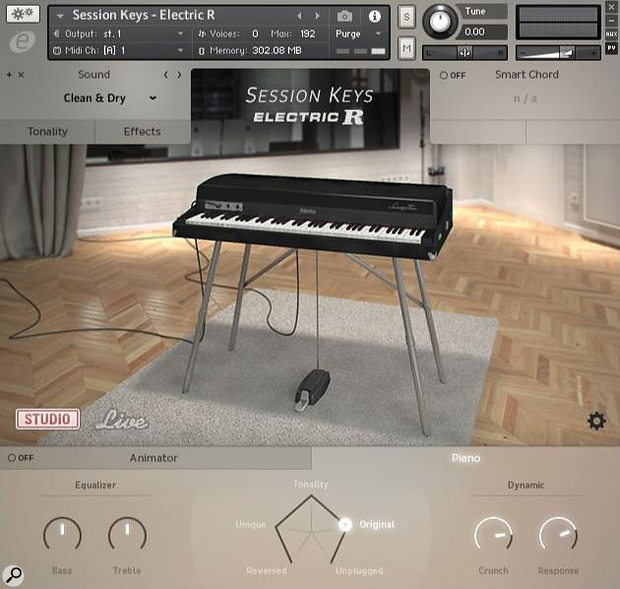 The main screen, showing the Studio soundset selected and the Pentamorph pointing to the Original samples.