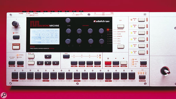 Elektron's interest in hardware sequencers and drum machines from the the '80s is immediately apparent from a glance at the Monomachine's control panel, with its row of 16 step-selection and editing buttons. However, the intuitive central display and array of eight hands-on edit knobs could only belong to a '90s or 21st-century instrument.