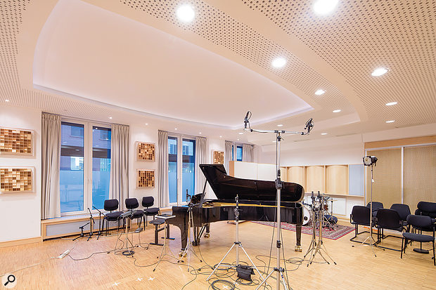 The single main live area at Emil Berliner Studios is home to a beautiful Steinway grand piano.