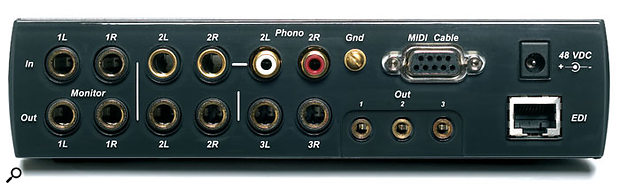 One pair of the 1616M's analogue line inputs has an RIAA equalisation option for direct connection of a turntable.