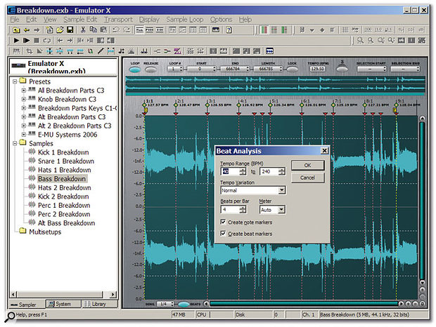 Chopping audio files into beats and bars takes only a few seconds with the easy-to-use Beat Analysis function.