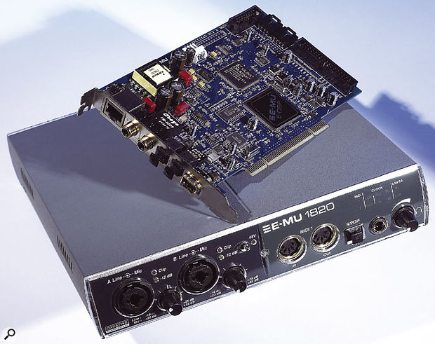Emu's new hardware interfaces all use the 1010 PCI card, with their proprietary E-DSP processing chip. The 1820 and 1820M also feature the Audiodock breakout box.