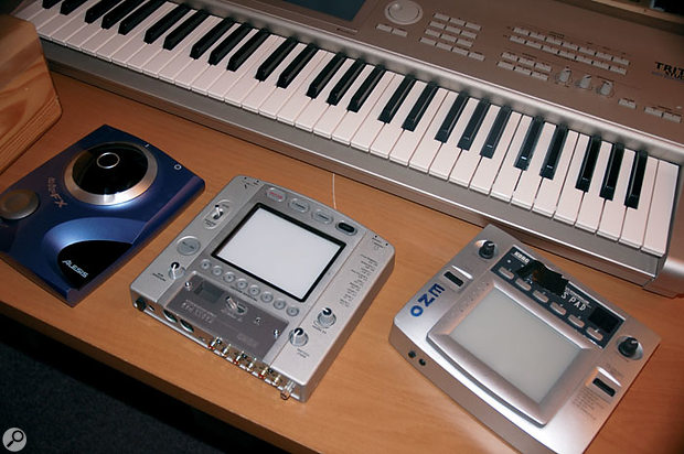 Devices that allow Eno to exercise 'muscle skill': Alesis AirFX and Korg Kaoss Pads (Mk I and Mk II).