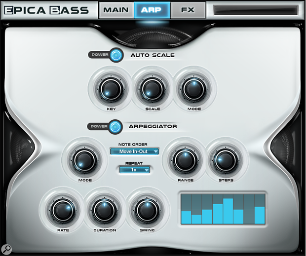 Sam Spacey's Epica Bass arpeggiator screen.
