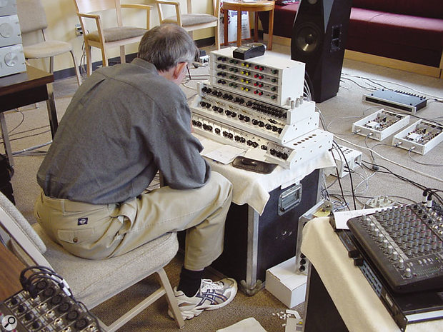 Keith O Johnson recording EWQLSO. The mic preamps used in the recording were the Professor's own design (the compact Mackie mixer at the edge of this shot was for monitoring only, and was not used in the recording path). Even the A-D converters, just visible at the extreme top left of this picture, were the Professor's own designs.