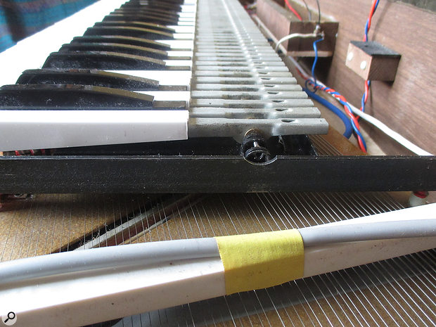 One of Ernst Zacharias' major innovations in designing the Clavinet was to position the harp and strings under the keybed, rather than above it.