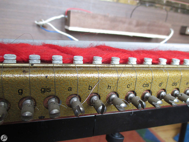 Tuning a  Clavinet I  using these screws requires a  steady hand! Later models improved this aspect of the design.