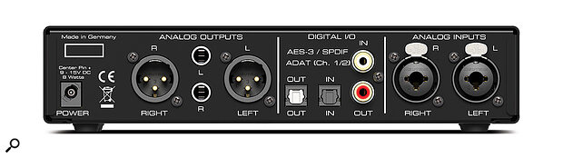 The two main formats used for digital I/O on small interfaces are coaxial, which can carry stereo audio in the S/PDIF format, and optical, which can carry either stereo S/PDIF or eight-channel ADAT Lightpipe signals.