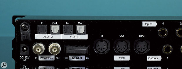 The A16 Ultra MkII's digital I/O includes dual ADAT ports, a MADI connector and BNC word clock connectivity, not to mention MIDI ports to allow for remote control.