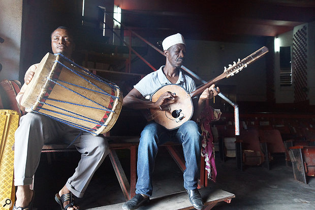 When it comes to finding recording locations in the field, you need to be resourceful. Here you can see the artists Soubi and Mmadi playing in an abandoned movie theatre... which turned out to have the wrong acoustic for their instruments and performance style.