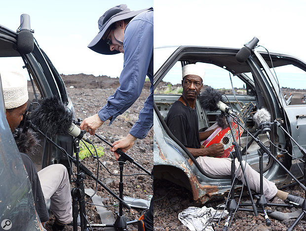 Left: the author sets up mics in the abandoned carcass of a car, using compact mic stands for some mics, and the car's body to mount others. Right: Soubi performs in his impromptu live room.