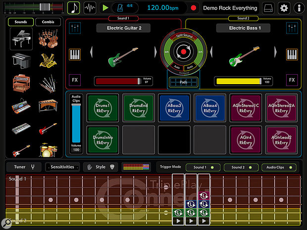 Fishman TriplePlay Connect iOS app.