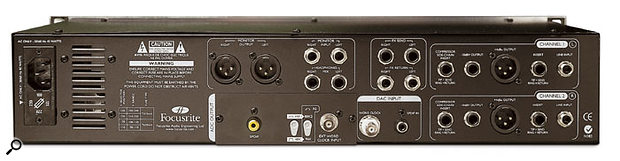 Focusrite Platinum Twin Trak Pro rear panel connections.