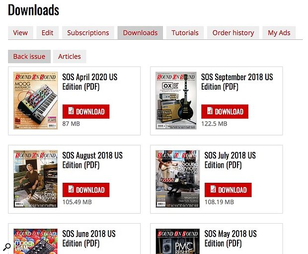 My Account > Downloads Full Issue PDF library