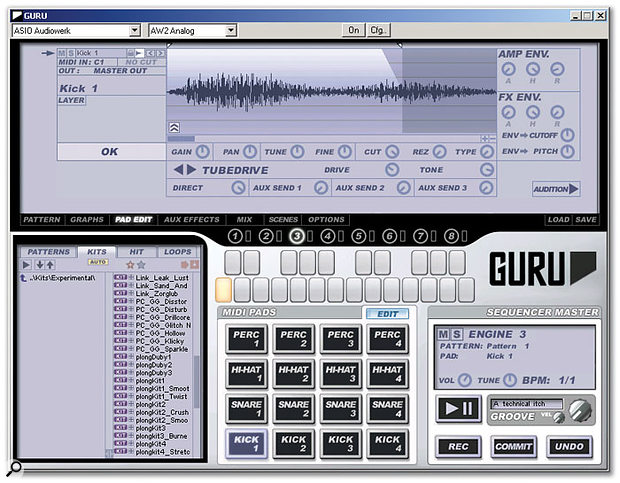 Each Guru engine boasts 16 Pads, on which up to eight samples per Pad can be layered.