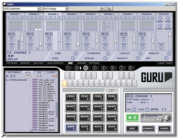 The Mix view is where you combine the outputs from Guru's eight Engines and apply effects to them, if you wish.
