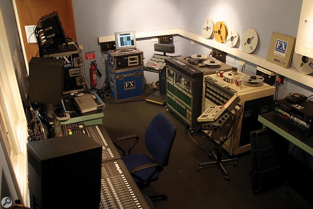 Like all the studios at the Copyroom, Room 1 has a permanently installed Pro Tools system, but at the time of our visit, there was also an old Mitsubishi X850 digital 32-track (in the far right corner), an Otari MTR90 analogue multitracker (the large white recorder to the right of the Mitsubishi), and an IZ Radar (in the middle at the back). Some of this gear is from FX Rentals' stock, wheeled in for as long as it's needed, and then replaced.