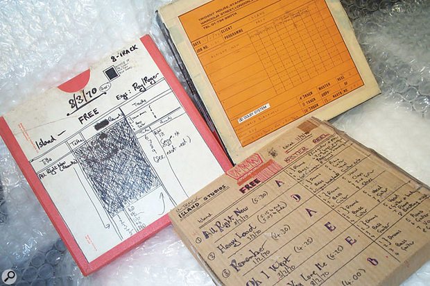 Some of the recording history which has passed through the Copyroom for digital transfer — the master tapes for Free's 1970 Fire & Water album. 'All Right Now' can just be made out from the hand-drawn tape labels.