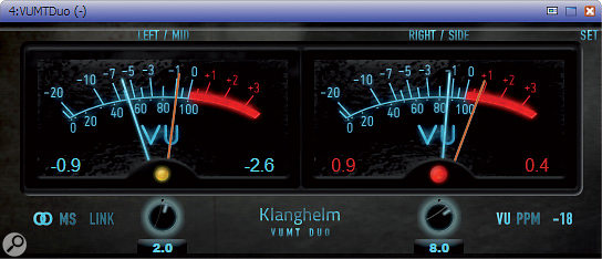 Gain-staging: software VU meters.