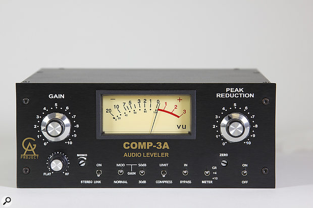 The front panel is rather busier than Universal Audio's LA-3A reissue, as Golden Age felt that various functions on the rear would be more conveniently located here.