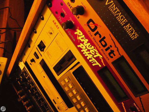 A trio of Emu modules — Vintage Keys, Orbit and Planet Phatt — share a rack with Garnier's Akai sampler.