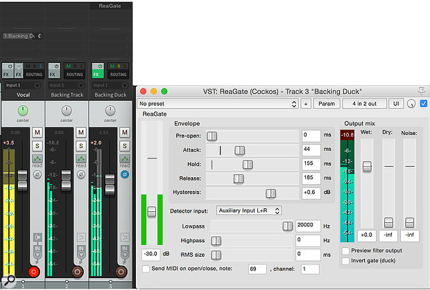 Here, the vocal signal (yellow meter) keys agate acting on aduplicate of the backing track — as the duplicate is polarity inverted (blue icon on the channel), it will attenuate the backing track via phase cancellation every time the vocal exceeds the gate's threshold.