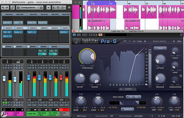 Using an expander to automate detailed vocal 'fader‑riding'. In this screen, I've used FabFilter Pro‑G's wet/dry level controls to blend the original and gated elements.
