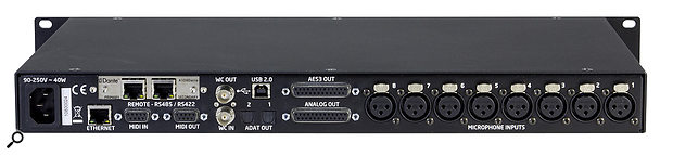 More than a preamp: alongside the usual XLR and D-sub analogue audio connectors there's extensive digital connectivity, including USB audio interfacing, a Dante card, word-clock in and out, and dual ADAT outputs.