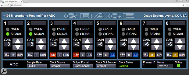 Grace Design M108: Remote-controlled Mic Preamp control panel.