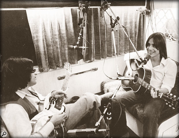Danny Kortchmar and Jackson Browne on Browne's tour bus, recording 'Nothing But Time' from the Running On Empty album.