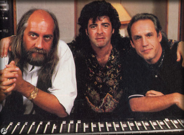 Greg (right) with Mick Fleetwood and Billy Burnett, in 1988, working on Fleetwood Mac's Behind The Mask album.
