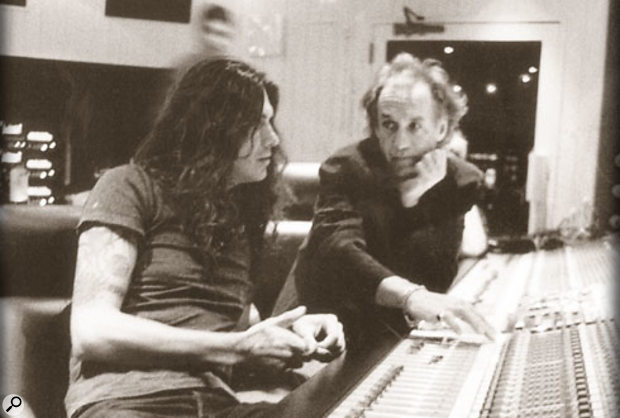 Greg (right) with Saul Hernandes from Jagaures at the console at Record Plant in 1999, recording an album titled Bajo el Azul.