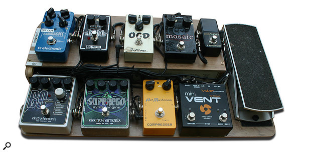 Paul White's pedalboard has been specifically set up for running synth pedals and traditional effects in parallel. The Hot Mushroom compressor presents the B9 organ pedal with a hot, even signal; the EHX Superego allows him to perform organ drones while playing guitar over the top; and the Mini Vent treats the organ pedal's output to a traditional-sounding Leslie emulation.