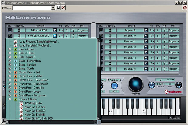 The Program selector menu, showing some of the various Program categories included in the supplied library.