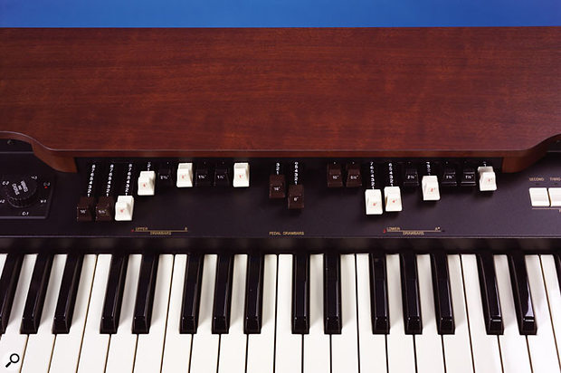 The XK3 offers two complete sets of nine drawbars — one for each manual — plus two bass drawbars for pedal sounds.