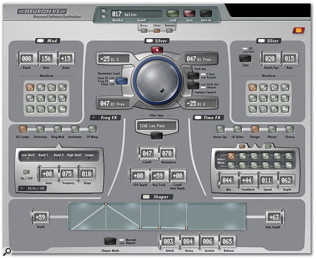 The Silver page lays out VS's filter, LFO, Slicer, frequency-based effects and time-based effects. Another EG — Shaper — is provided for the filter, and colour coding again indicates three levels of control for the X-Y controller.