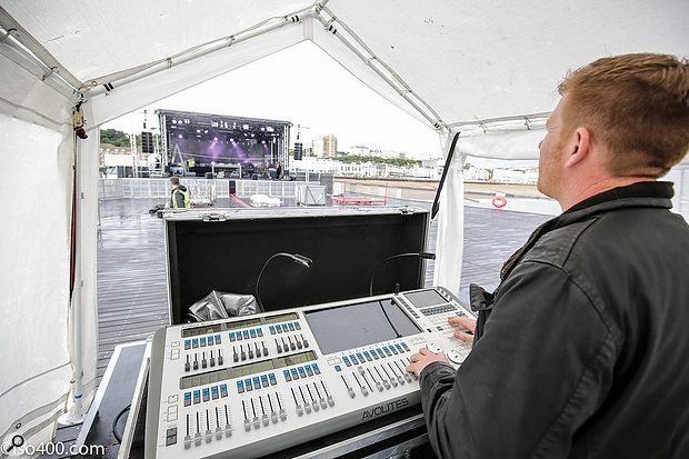 The staging, power and lights all arrived on the Thursday before the event — and had to be set up in torrential rain...