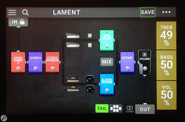 One of the semi-parallel signal chains, displayed on the Pedalboard's touchscreen.