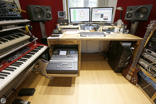 General view of studio desk end, with Yamaha DM1000 console shelf pulled out.